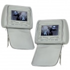"AST7002H-HUIS 7"" LCD Screen Car Headrest Monitor w/ Remote Controller / AV-IN - Grey (2 PCS)"