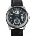 Fashion Alloy + PU Electronic Quartz Men's Wrist Watch - Black (1 x 377)