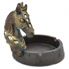 Resin Craft Horse Style Ashtray - Brown + Golden