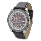 Fashion Alloy + PU Quartz Men's Wrist Watch - Coffee + Silver + White (1 x 377)