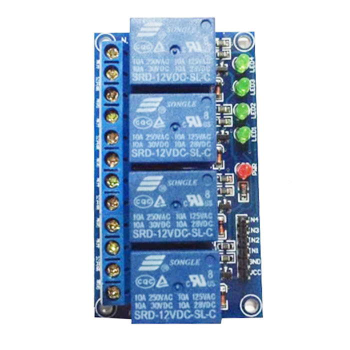 4 Channel 12V Low Level Trigger Relay Module for Arduino (Works with Official Arduino Boards) купить