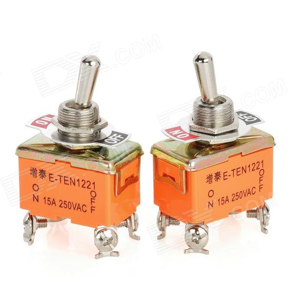 4 Pin Electrical Power Control On / Off Toggle Switches - Orange + Silver (2 PCS) automatic on off photocell street light switch photo control sensor switches safe switches