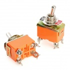 4 Pin Electrical Power Control On / Off Toggle Switches - Orange + Silver (2 PCS)