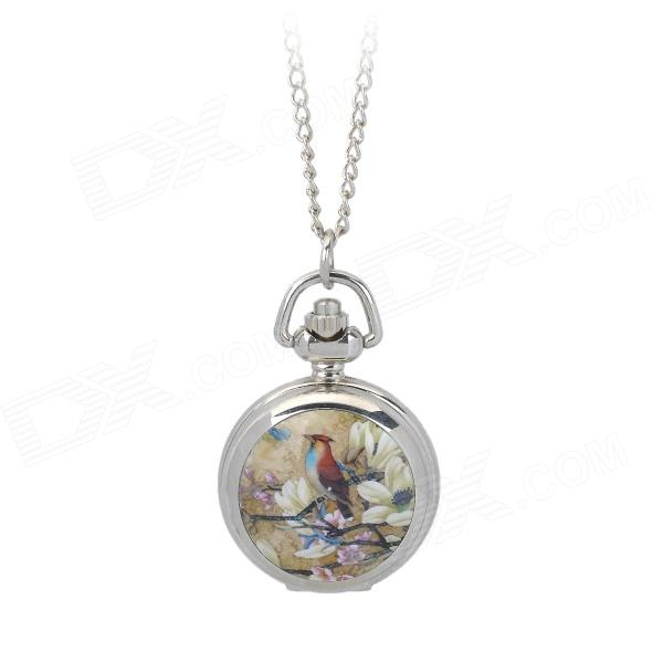 Flower and Bird Pattern Quartz Pocket Watch - Golden + Silver (1 x LR626 / LR66) bobo bird wp14 2 p14 3 lovers quartz watches for men women elk dial natural wooden watch with colorful mixed wooden band