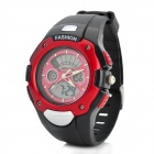 Multifunction Sport Analog + Digital Quartz / Electronic Waterproof Wrist Watch - Black + Red