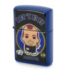 Cute Boy Pattern Stainless Steel + Iron Windproof Oil Lighter - Blue