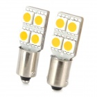 BA9S 0.8W 35LM 610nm Yellow 4-SMD 5050 LED Car Reading Light / License Plate Light (2 PCS)