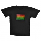 Dot Pattern Voice Controlled Flash Light Cotton T-Shirt - Black (Size-XXL / 2 x AAA)