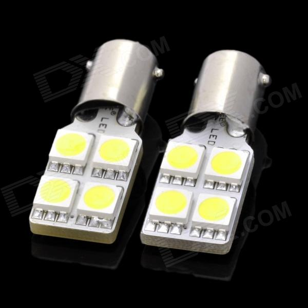 D&Z BBF904W BA9S 0.8W 92lm 6500K 4-SMD 5050 LED White Light Car Lamps - Yellow (2 PCS) lx 3w 250lm 6500k white light 5050 smd led car reading lamp w lens electrodeless input 12 13 6v