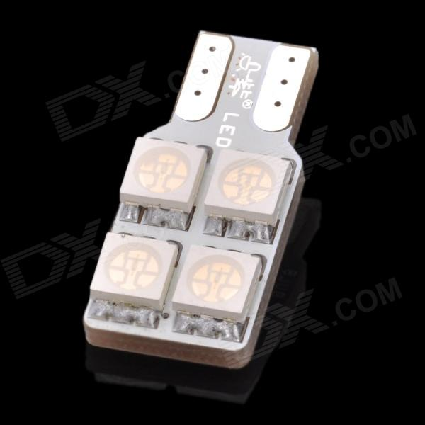 D&Z F904R T10 0.8W 55lm 680nm 4-SMD 5050 LED Red Light Car Lamp - White 10pcs t10 bright car led w5w 5050 5 smd white blue red interior lights wedge reading lamp trunk bulbs license plate light dc 12v