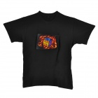 Magic IQ Cube Pattern Voice Controlled Flash Light Cotton T-Shirt - Black (Size-L / 2 x AAA)