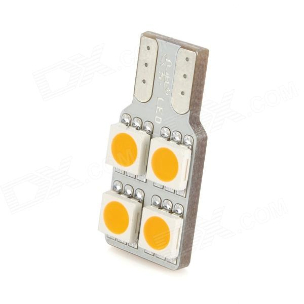 T10 0.8W 35lm 4-SMD 5050 LED Yellow Light Car Lamp (DC 12V) 2x led custom moving slim door sill scuff plate light car accessories for chevrolet stingray premiere edition 2014 2015 2016
