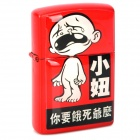 Funny Boy Pattern Stainless Steel Fuel Lighter - Red