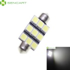 SENCART 39mm 4.5W 6500K 405lm 9-SMD 5060 LED White Light  License Plate Lamp - (DC 12V)