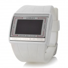"Square 1.9"" LED Red Backlight Light Touch Screen Wrist Watch - White + Silver (1 x CR2032)"