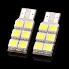 D&Z F106C T10 1.2W 125lm 7000K 6-SMD 5050 LED White Light Car Floor Lamps - White (2 PCS)