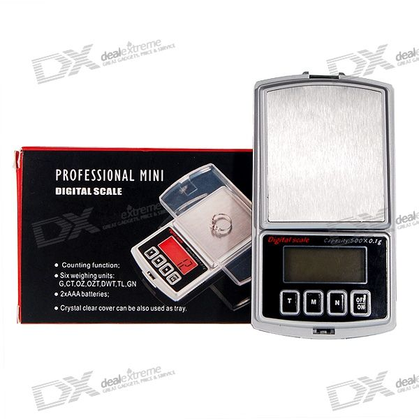 Pocket Digital Scale with Backlighted LCD (500g Max/0.1g Resolution)