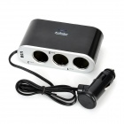 USB 3 Sockets Car Cigarette Lighter Charger Adapter with Switches - Black + Silver (DC 12V)