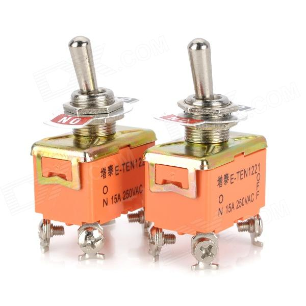 Electrical Power Control Toggle Button Switch - Orange + Silver (2 PCS)