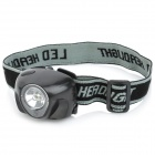 0.5W 45LM 3-Mode White Light 1-LED Headlamp - Black (3 x AAA)