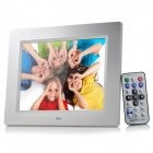 "HX-806 Ultra-Slim 8"" Digital Multi-Media Photo Frame w/ Remote Controller - Silver (AC 100~240V)"
