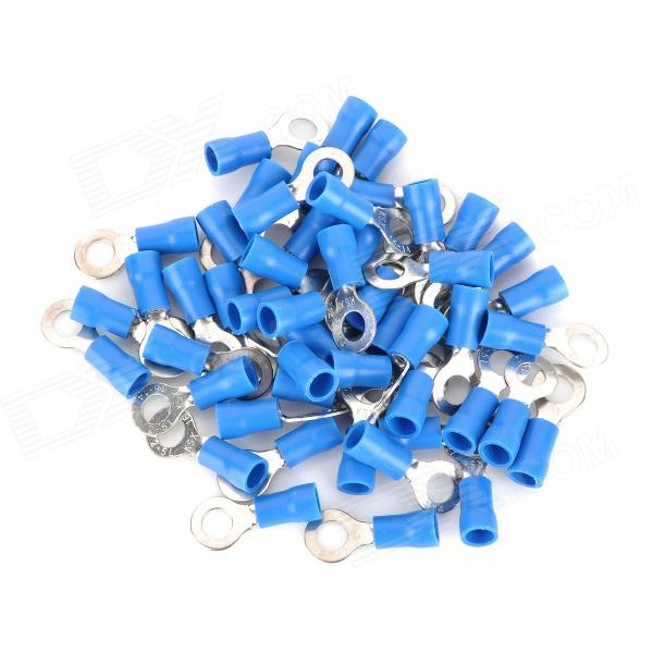 Insulated Ring Terminal Connectors - Blue + Silver (5mm / 50 PCS) 400 pcs wire copper crimp connector insulated cord pin end terminal