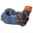 African Girl Style Resin Cigarette Ashtray - Blue + Black