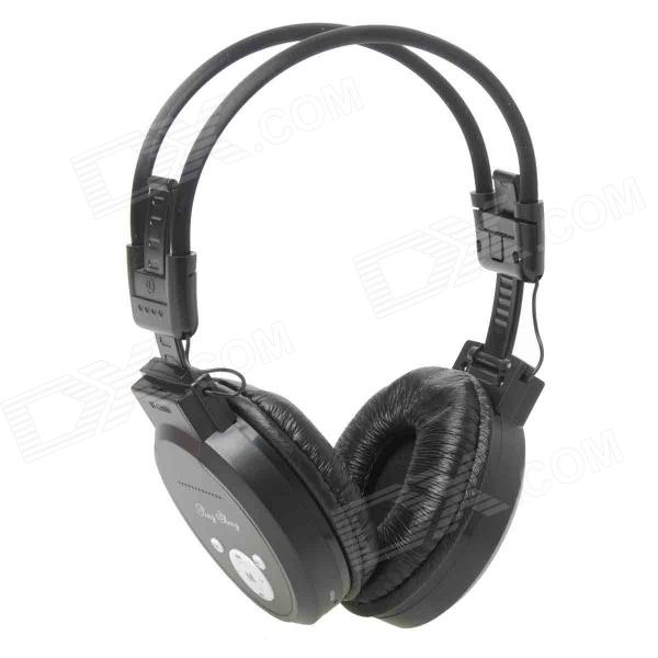 PS-399 Rechargeable Music Player Headset w / FM / TF - Schwarz (3,5 mm Klinke)