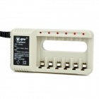 KN-602 6-Slot Battery Charger for Ni-MH / Ni-Cd / AA / AAA Battery - Grey (2-Flat-Pin Plug)