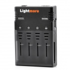 Lightmore Q-128 Battery Charger for 18650 / 26650 / 16340 / 14500 / 10440 Battery - Black (EU Plug)