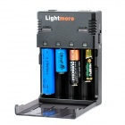 Lightmore Q-128 Battery Charger for 18650 / 16340 / 14500 / 10440 Battery - Black (EU Plug)