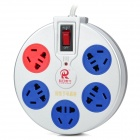 Intelligent Energy Saving 5-Outlet Power Socket - Silver + Blue + Red (AC 220~250V)
