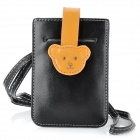 Cute Bear Mobile Phone PU Leather Carrying Bag / Pouch - Black