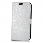 Crocodile Pattern Protective PU Leather Case for Samsung i9300 - White