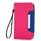 Protective PU Leather Flip-Open Case for Samsung i9300 - Deep Pink + Purple