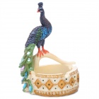 Craft Peacock Style Painted Diamond Resin Cigarette Ashtray - Yellow + Green + Blue