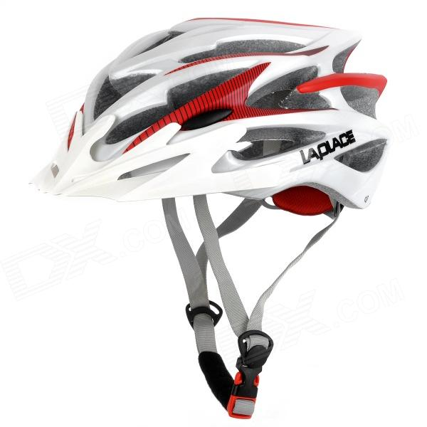 Genuine Laplace Q7 Outdoor Bicycling Helmet - White + Red (56~60cm)