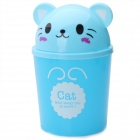 Creative Home Cartoon Cat Shape Plastic Small Desktop Trash - Blue
