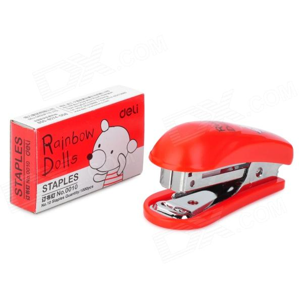 Mini Stainless Steel Stapler + Staple Set - Red mini stainless steel stapler staple set red