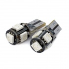 CANBUS GZ076 T10 1.5W 6500K 200lm 5-SMD 5050 LED White Light License Plate Lamps - (DC 12V / 2 PCS)