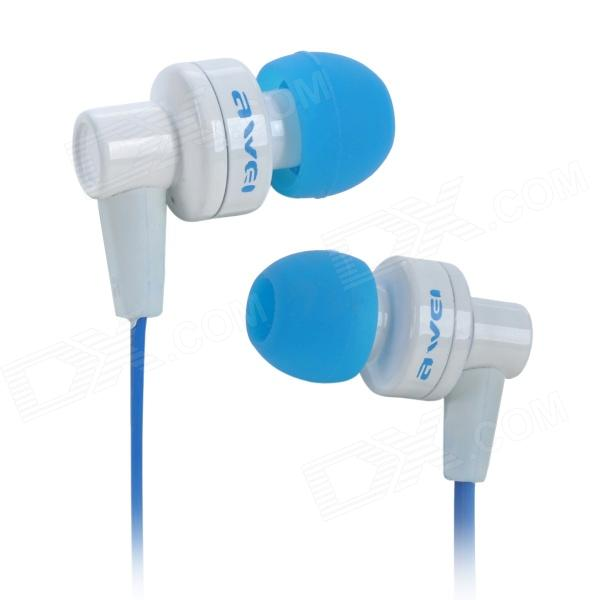 Awei ES700i In-Ear Bass Stereo Earphone - Blue + White (3.5mm / 120cm) awei es700i bass stereo in ear earphones with mic blue