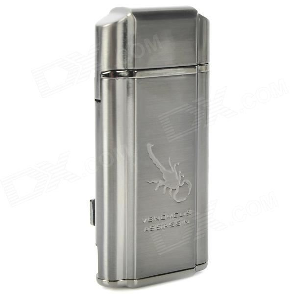 Scorpion Pattern Windproof Dual-Flame Butane Gas Lighter - Grey scorpion pattern windproof dual flame butane gas lighter grey