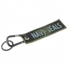 Flying Eagle Woven Label Multifunction Carabiner Clip Keychain Set - Black + Green