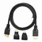 3-in-1 HDMI Male to Male Data Transmission Cable - Black (130cm)