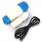 Mini Folding 400W 2-Mode Hair Dryer - White + Blue (AC 220V / 2-Flat Pin Plug)
