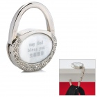 "Compact ""may God bless you"" Zinc Alloy Bag Hanger Holder Hook - Silver + White"
