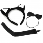 Cute Costume Party Holiday Wild Cat Ears Headband + Bow Tie + Tail Set - Black (3 PCS)