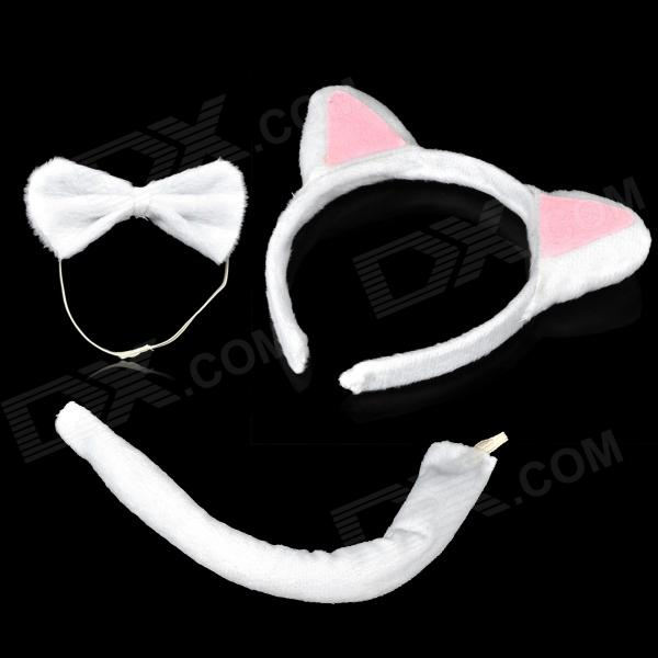 Cute Costume Party Holiday Cat Ears Headband + Bow Tie + Tail Set - White + Pink (3 PCS)