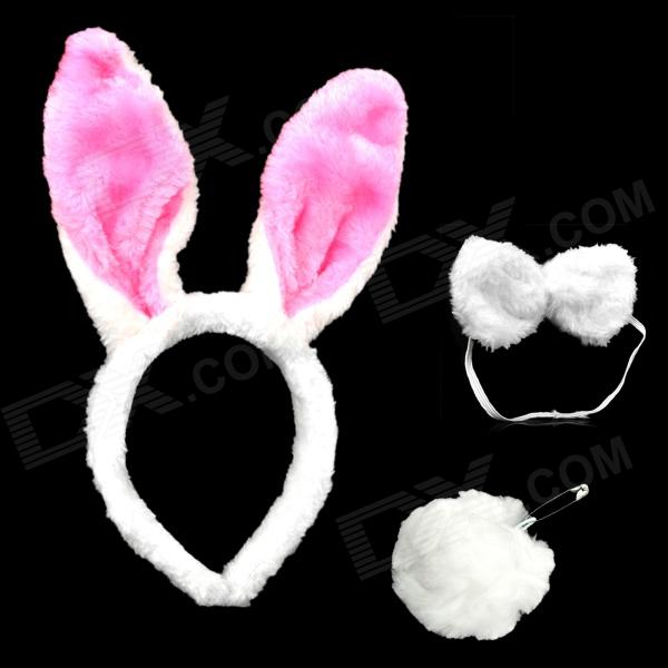 Cute Costume Party Holiday Rabbit Ears Headband + Bow Tie + Tail Set - White + Pink (3 PCS) free shipping high quality modern wall lights creative wall lamp 85 265v one light e27 living room bedroom wall light