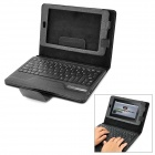 Wireless Bluetooth V3.0 80-Key Keyboard w / PU Ledertasche für Google Nexus 7 - Black
